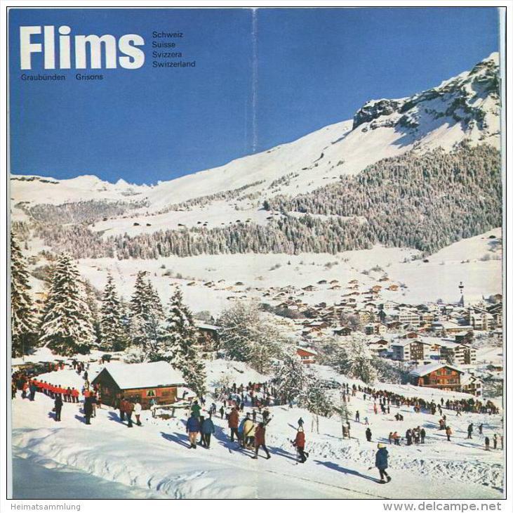 Flims 1970 - 12 Seiten mit 28 Abbildungen - Reliefkarte/M. Bieder - Hotelliste mit Ortsplan - Tarife und Fahrpläne der B