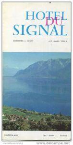 Chexbres 1971 - Hotel du Signal - Faltblatt mit 13 Abbildungen - Ortsplan und Hoteltarife