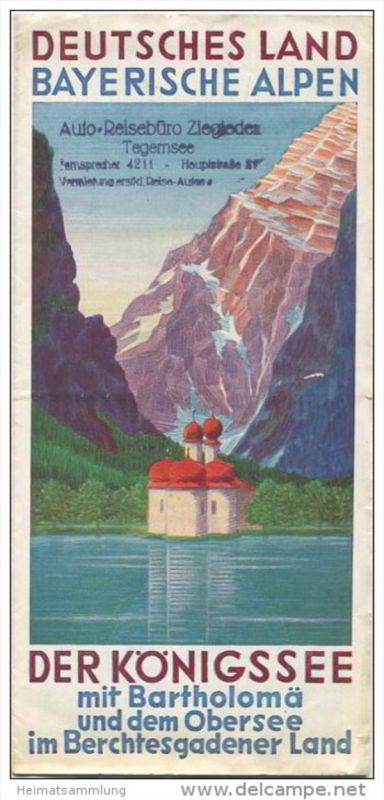 Der Königssee mit Bartholomä und dem Obersee im Berchtesgadener Land 30er Jahre - Faltblatt mit 8 Abbildungen