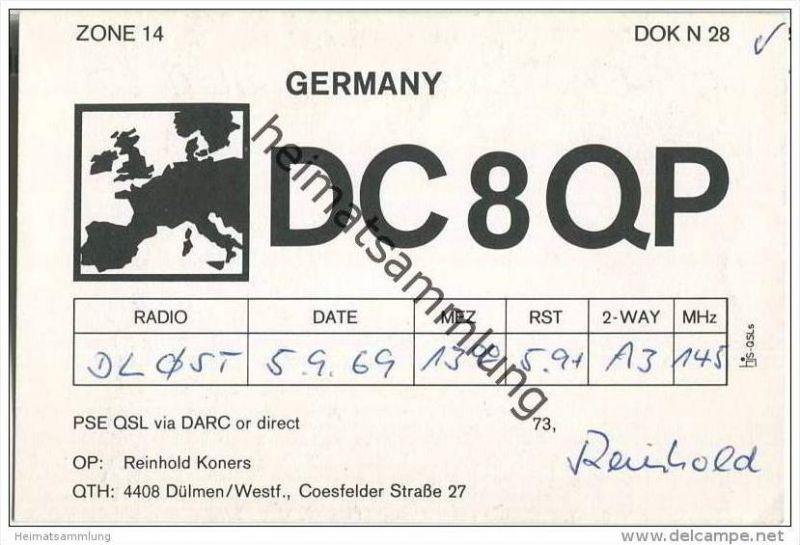 QSL - QTH - Funkkarte - DC8QP - Dülmen - 1969