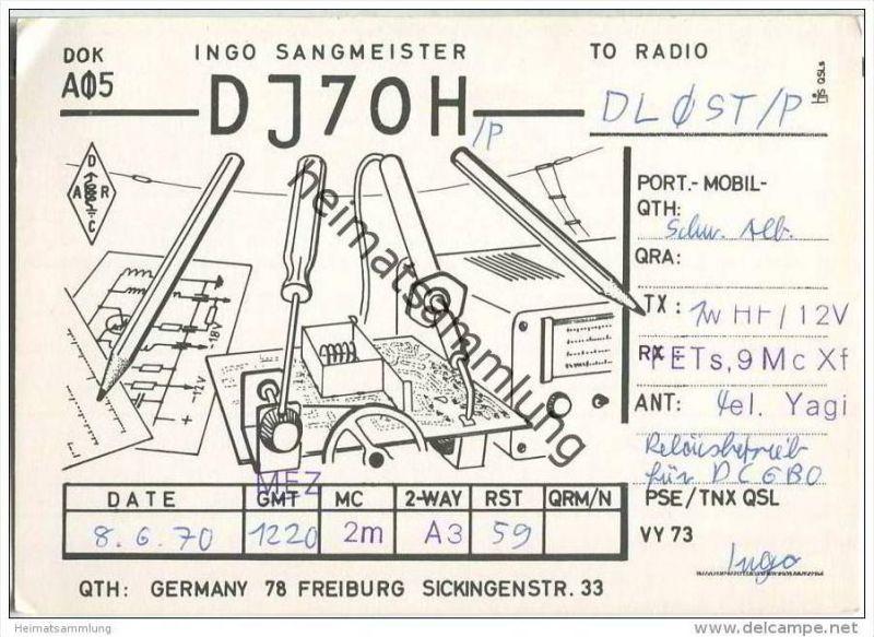 QSL - QTH - Funkkarte - DJ7OH - Freiburg - 1970