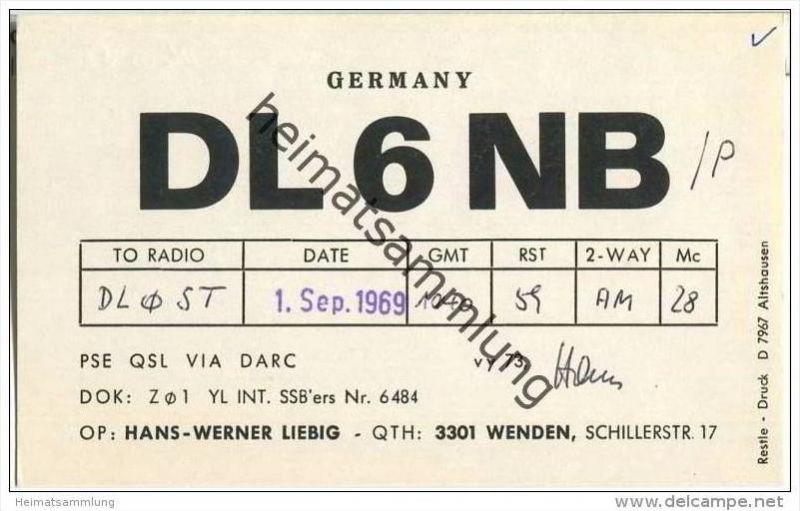 QSL - QTH - Funkkarte - DL6NB - Braunschweig-Wenden - 1969