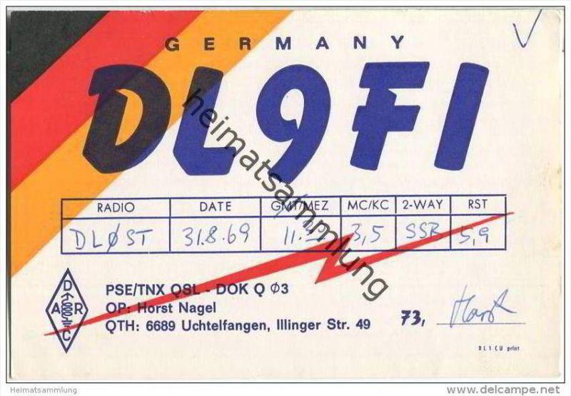 QSL - QTH - Funkkarte - DL9FI - Illingen-Uchtelfangen - 1969