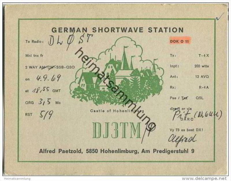 QSL - QTH - Funkkarte - DJ3TM/P - Hagen-Hohenlimburg - 1969