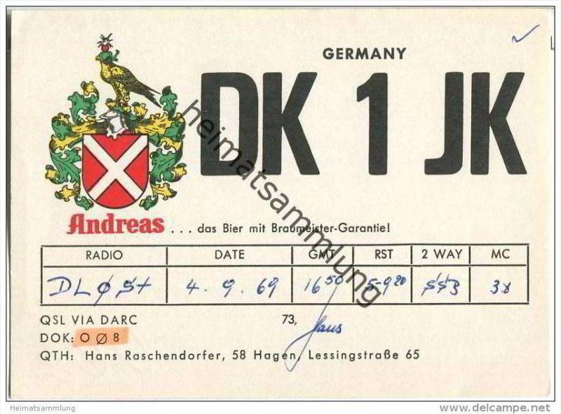 QSL - QTH - Funkkarte - DK1JK - Hagen - 1969 - Andreas Bier