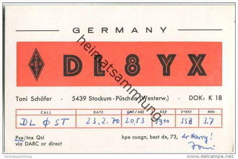 QSL - QTH - Funkkarte - DL8YX - Stockum-Püschen - 1970