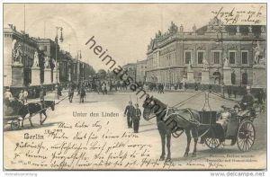 Berlin-Mitte - Unter den Linden - Pferde - Hansom Berlins neueste Droschke mit Gummirädern