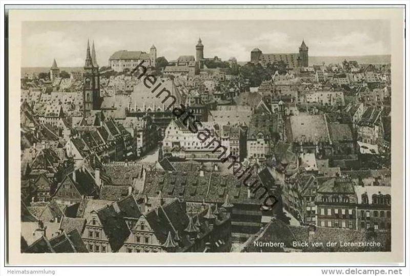 Nürnberg - Blick von der Lorenzkirche - Foto-AK
