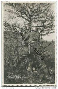 Schweizer Soldaten - Leichtes Maschinengewehr - Foto-AK