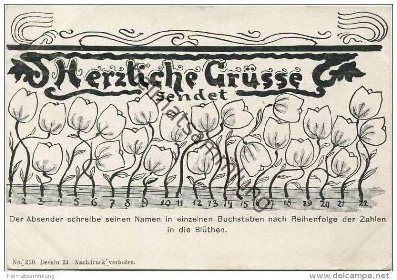 Herzliche Grüsse sendet - Der Absender schreibe seinen Namen ... - ca. 1900