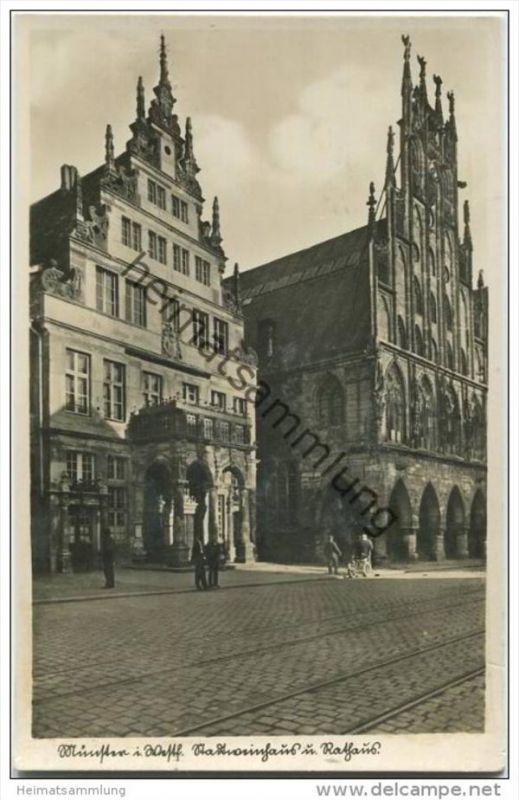 Münster in Westfalen - Stadtweinhaus und Rathaus - Foto-AK 40er Jahre