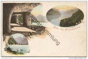 Gruss vom Vierwaldstättersee - Axenstrasse - Flüelen ca. 1900