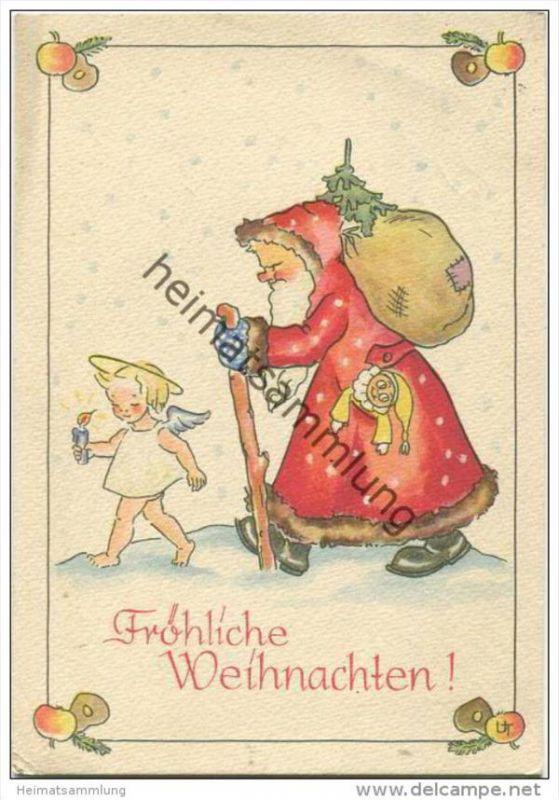 Fröhliche Weihnachten - Engelchen und Weihnachtsmann - AK Grossformat - illustriert Illustrateur UT