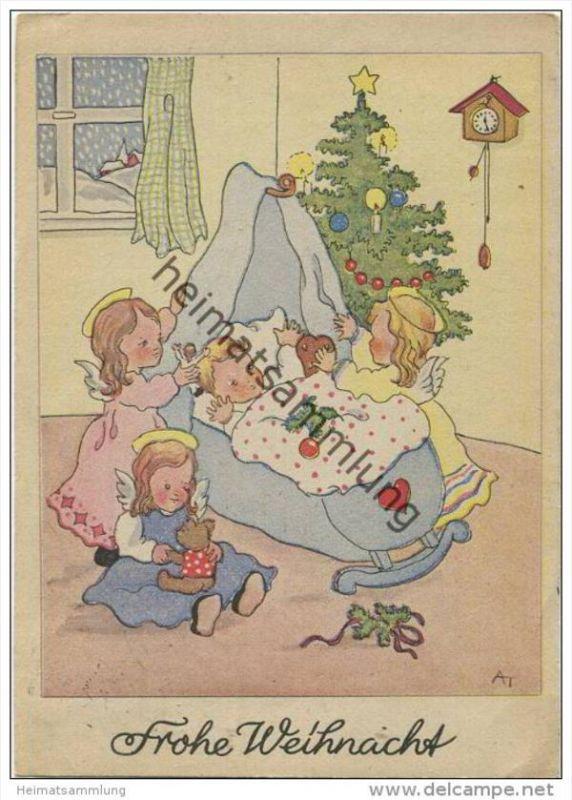 Frohe Weihnacht - drei Engelchen - AK Grossformat - illustriert Illustrateur AT
