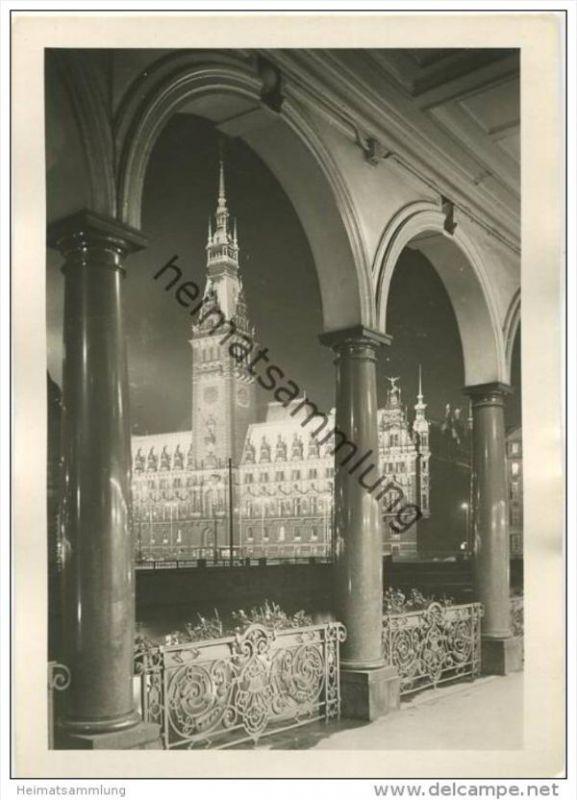 Hamburg - Rathaus bei Nacht - Foto-AK Grossformat 30er Jahre