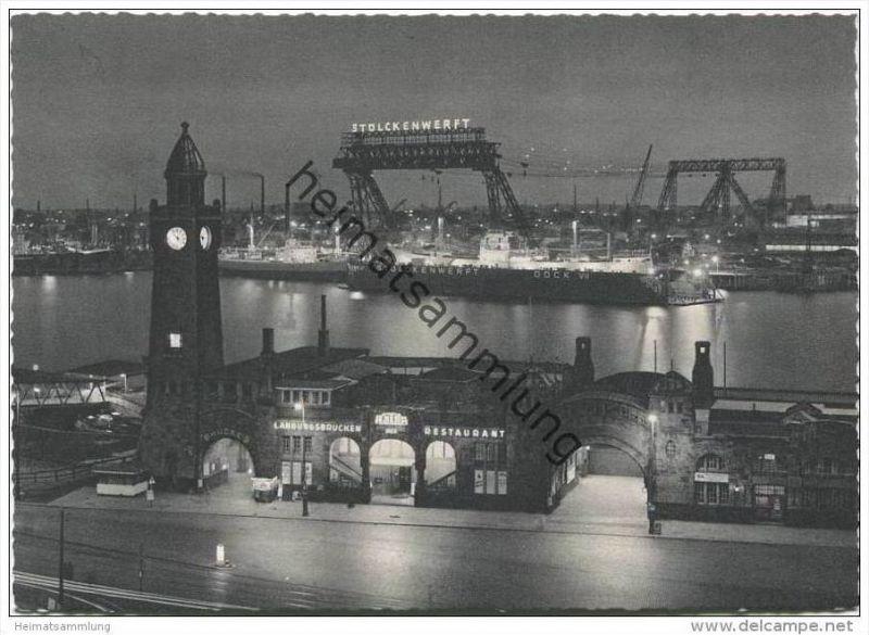 Hamburg - St. Pauli Landungsbrücken bei Nacht - AK-Grossformat