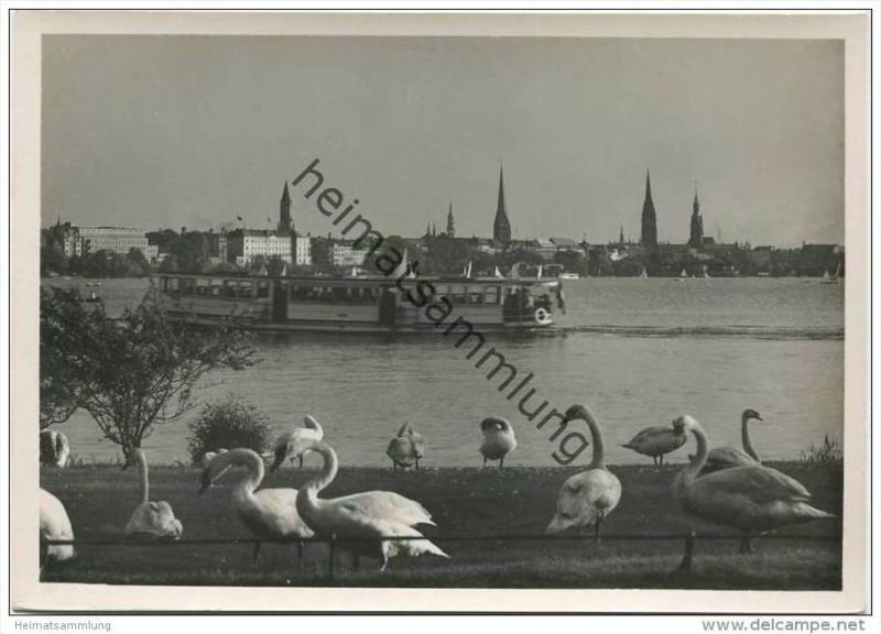 Hamburg - Alster-Schwäne und Stadtblick - Foto-AK Grossformat 30er Jahre