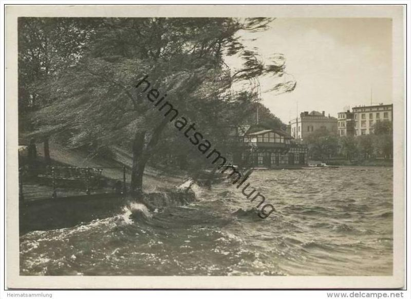 Hamburg - Sturm an der Alster - Foto-AK Grossformat 30er Jahre