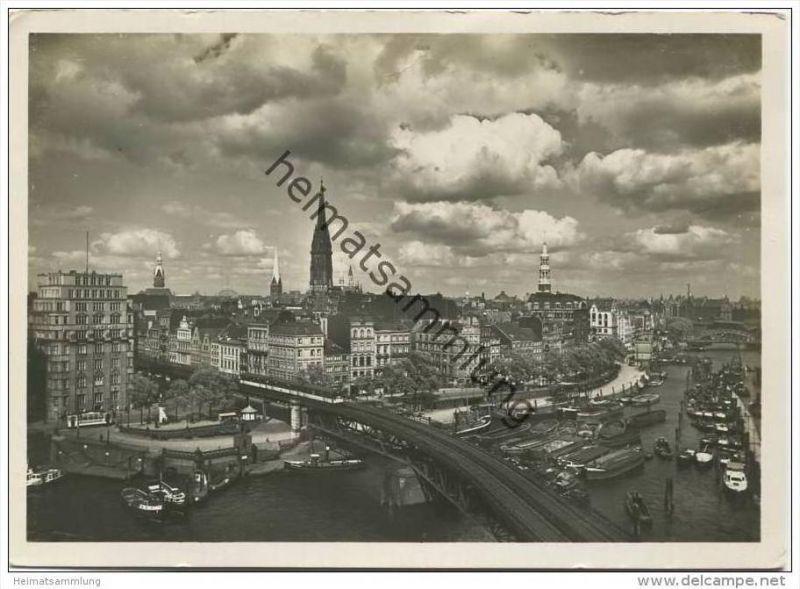 Hamburg - Binnenhafen und Kajen - Foto-AK Grossformat 30er Jahre
