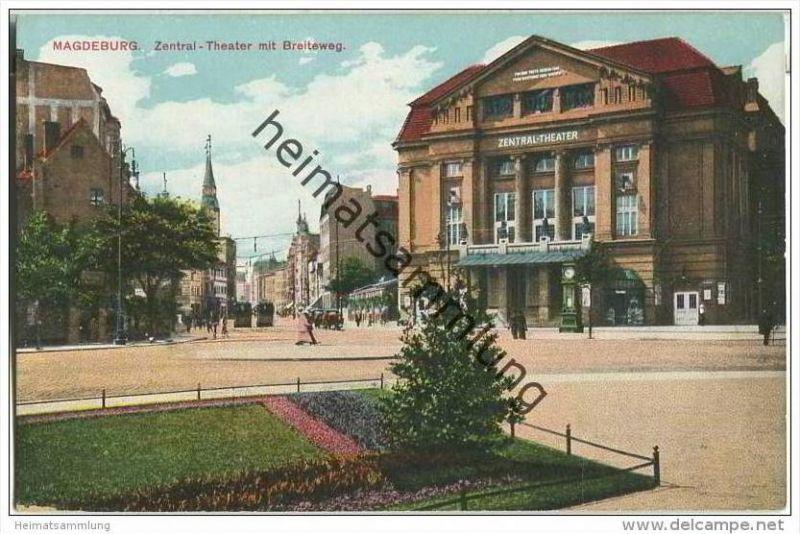 Magdeburg - Zentral-Theater mit Breiteweg - Wettersäule