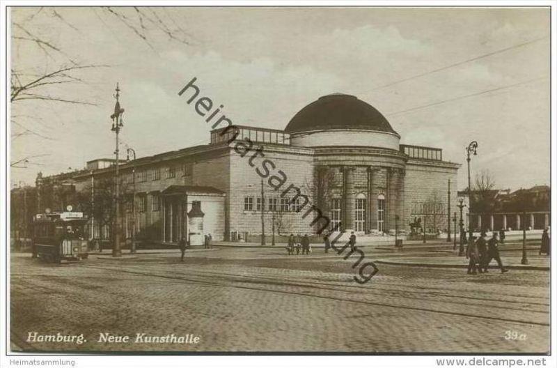 Hamburg - Neue Kunsthalle - Strassenbahn - Foto-AK 1931