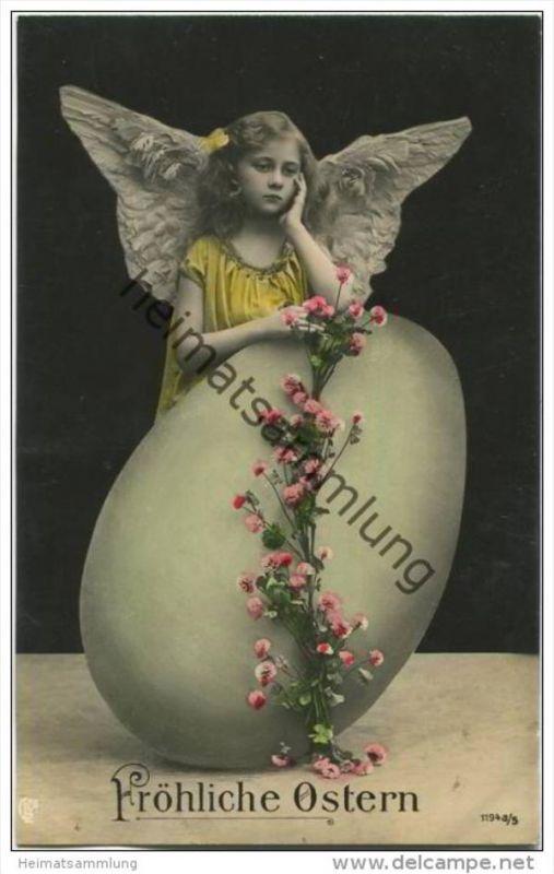 Fröhliche Ostern - Osterei - Engel - Foto-AK