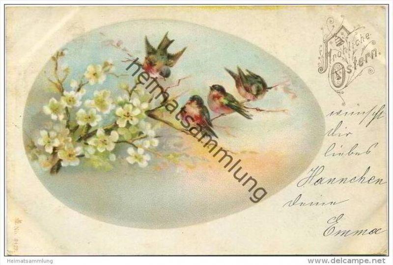 Fröhliche Ostern - Blüten - Vögelchen - Osterei