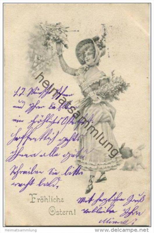 Fröhliche Ostern - Junge Frau mit Blumenstrauss - Osterhasen
