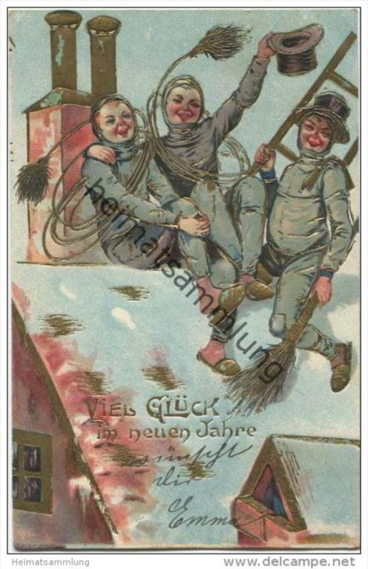 Viel Glück im neuen Jahr - Schornsteinfegerinnen - Prägedruck