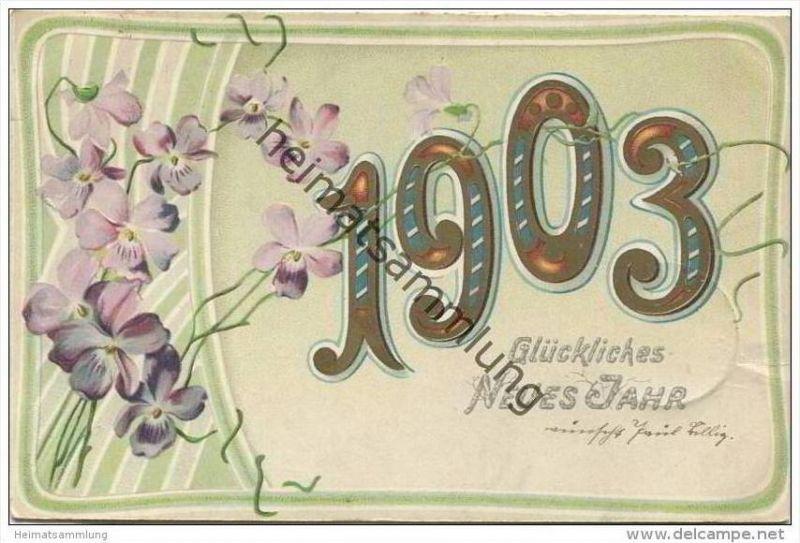 Glückliches Neues Jahr 1903 - Veilchen