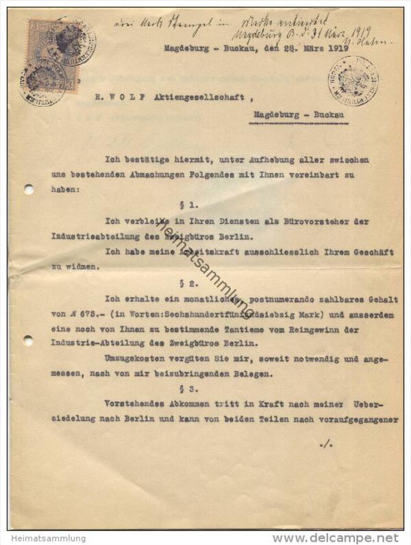 magdeburg buckau 1919 arbeitsvertrag eines. Black Bedroom Furniture Sets. Home Design Ideas