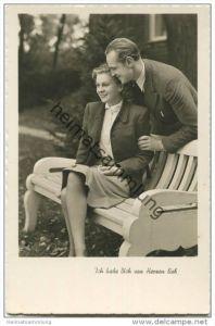 Paar im Park - Ich hab Dich von Herzen lieb! - Foto-AK