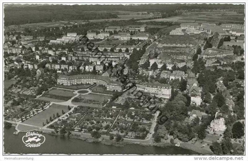Lübeck - Blick auf Stadtteil Marli - Luftaufnahme - Foto-AK 50er Jahre