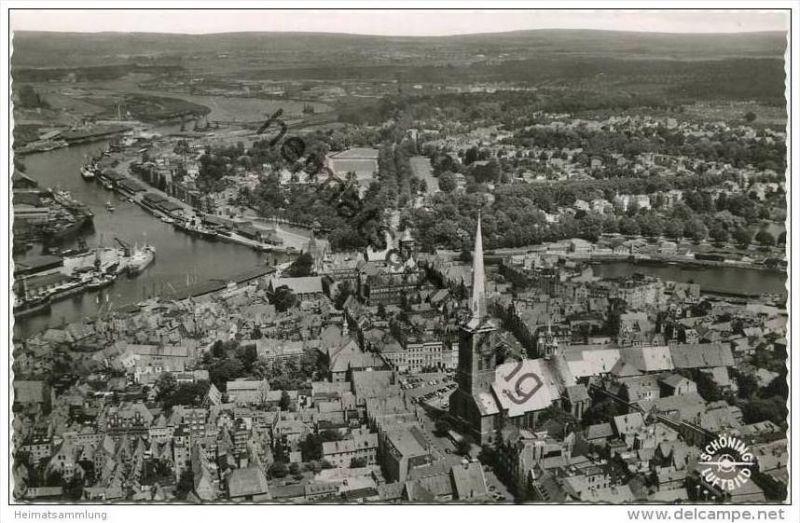 Lübeck - Luftaufnahme - Foto-AK 50er Jahre