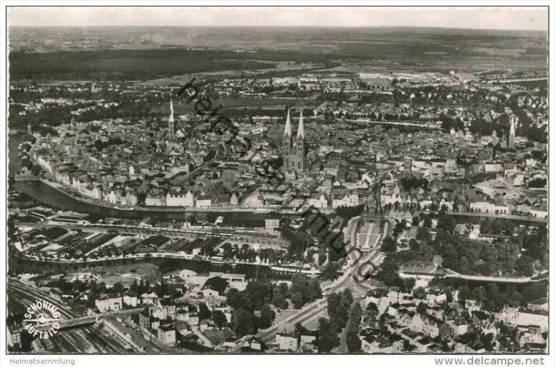 Lübeck - Luftaufnahme - Luftaufnahme - Foto-AK 50er Jahre