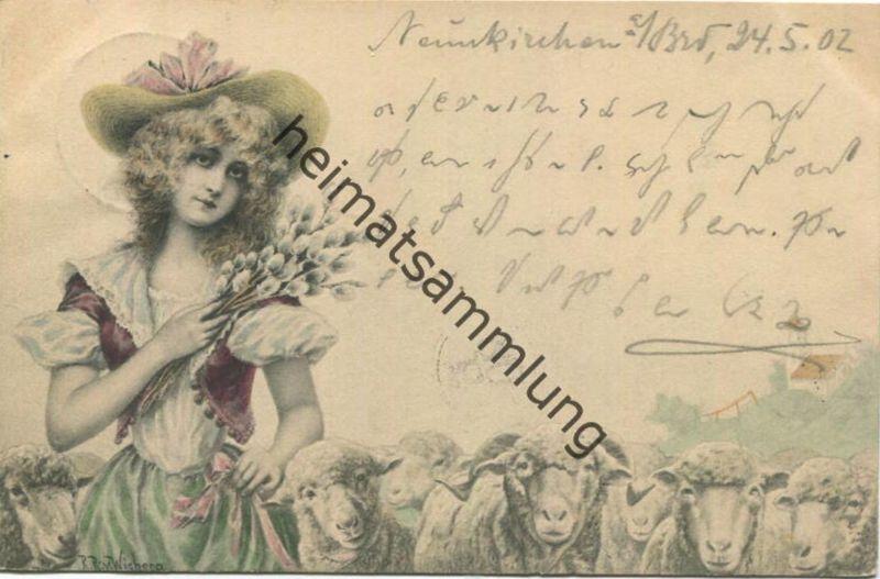 Schafe - signiert R. R. v. Wichera gel. 1902