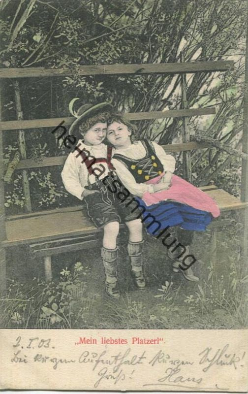 Kinder in Tracht - Mein liebstes Platzerl - coloriert gel. 1903