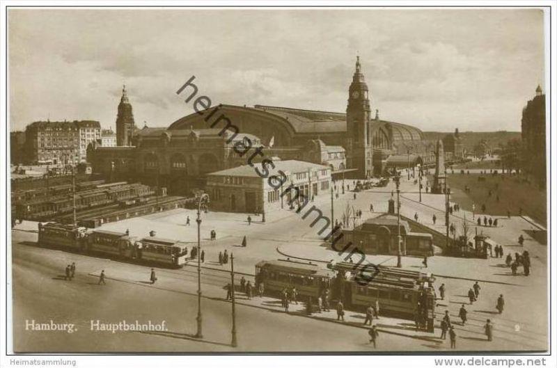 Hamburg - Hauptbahnhof - Foto-AK 20er Jahre - Strassenbahn