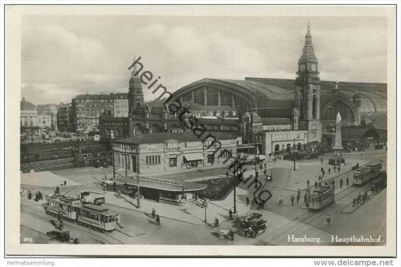 Hamburg - Hauptbahnhof - Strassenbahn - Foto-AK 30er Jahre