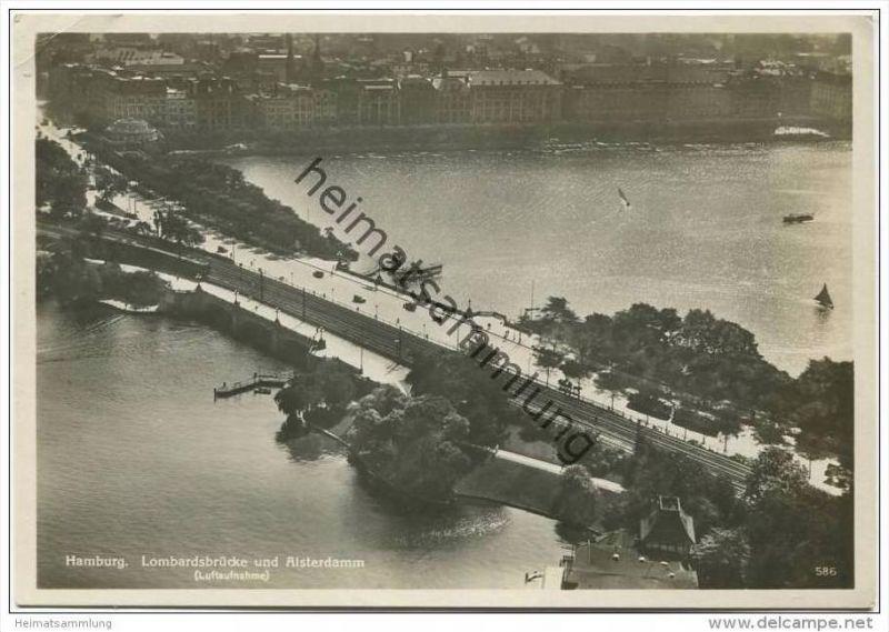 Hamburg - Lombardbrücke und Alsterdamm - Luftaufnahme - Foto-AK Grossformat 30er Jahre