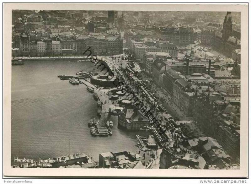 Hamburg - Jungfernstieg - Luftaufnahme - Foto-AK Grossformat 30er Jahre