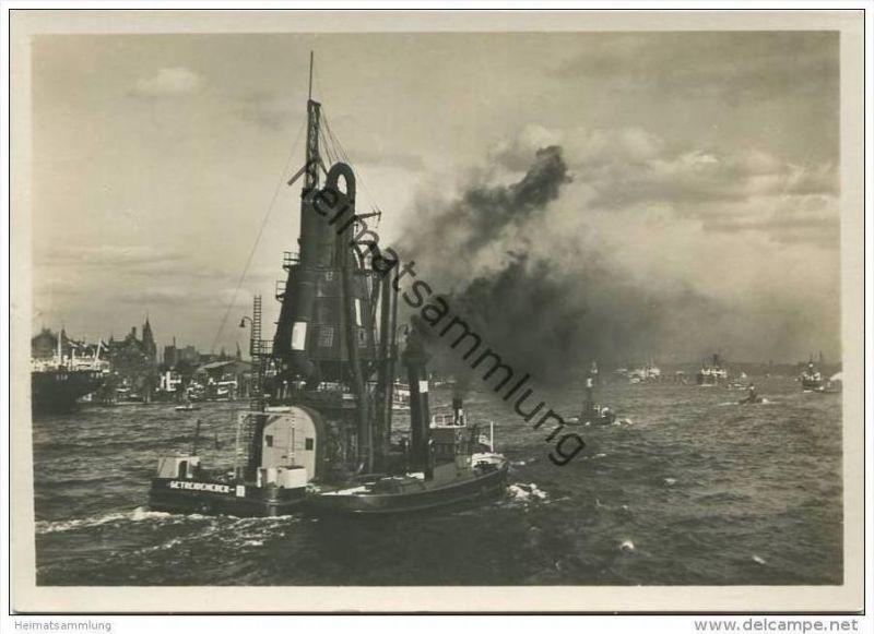 Hamburg - Getreideheber im Hafen - Foto-AK Grossformat 30er Jahre