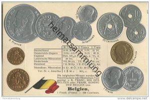Münzkarte - Nationalflagge - Belgien - Prägedruck