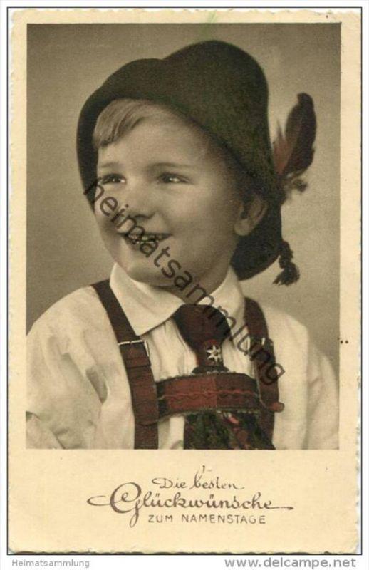 Junge in Tracht mit Sepplhut - Foto-AK coloriert
