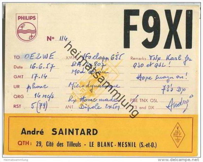 QSL - QTH - Funkkarte - F9XI - Le Blanc-Mesnil - 1957