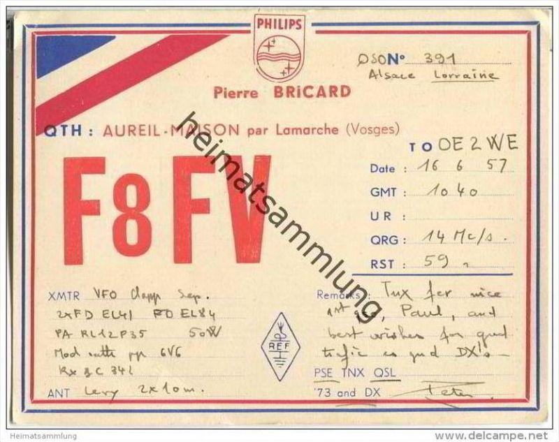 QSL - QTH - Funkkarte - F8FV - France - Lamarche - 1957