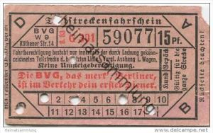 Berlin - BVG Teilstrecken-Fahrschein  15Pf. 1933 - Die BVG, das merk', Berliner, ist im Verkehr dein erster Diener.