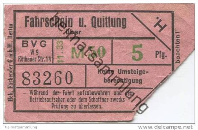 Berlin - BVG Fahrschein und Quittung über 5Pfg. 1933