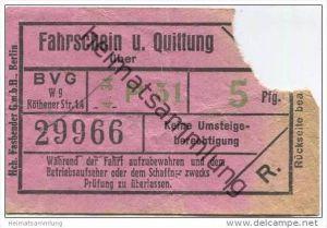 Berlin - BVG Fahrschein und Quittung über 5Pfg. 1934