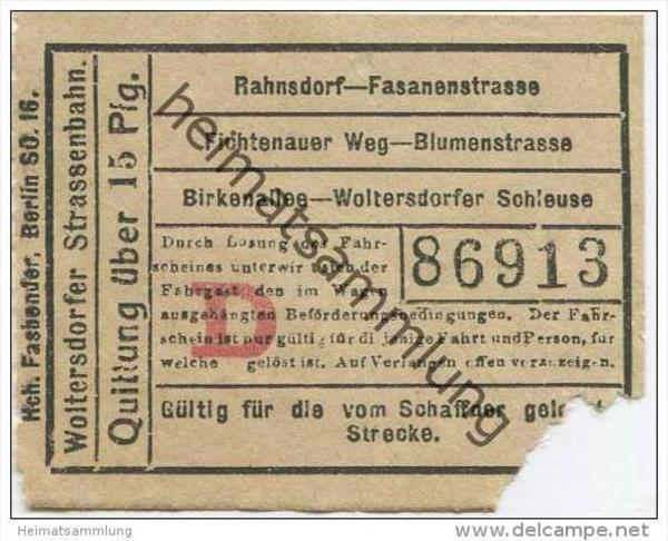 Woltersdorf - Woltersdorfer Strassenbahn - Fahrschein Quittung über 15Pfg.